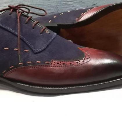 Men Two Tone Maroon Navy Blue Suede..
