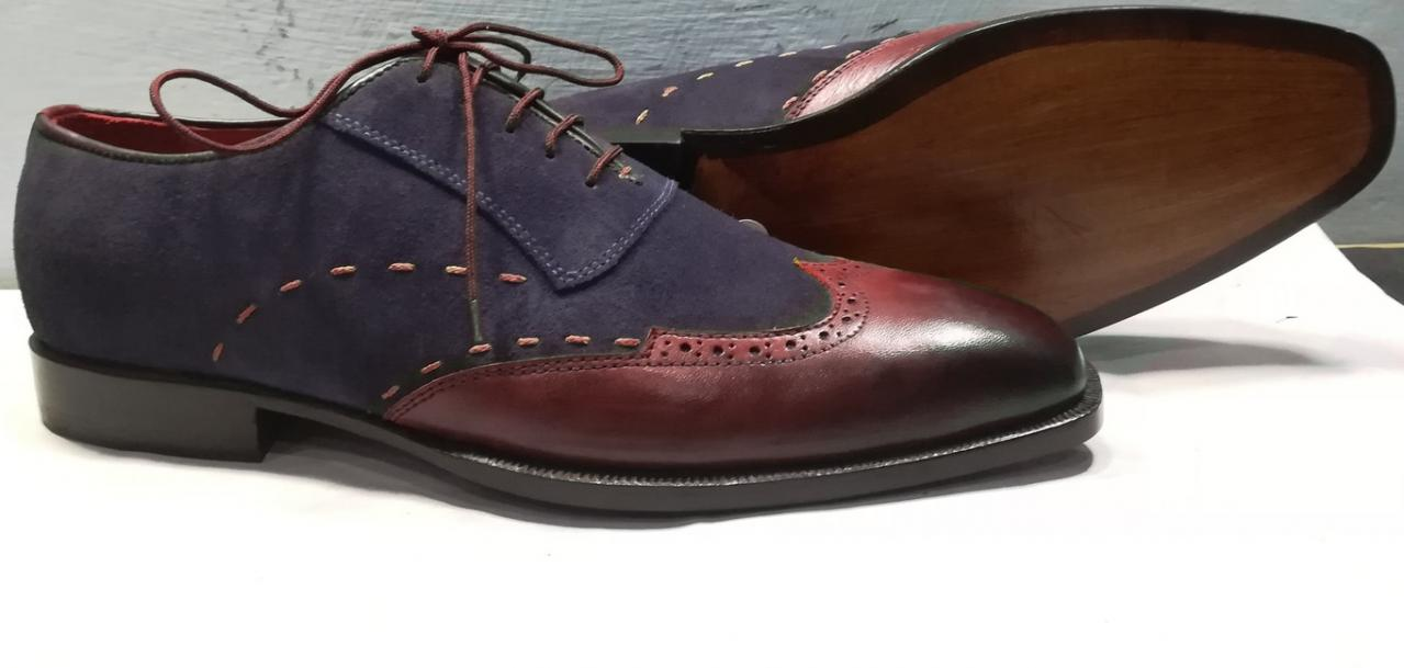 Men Two Tone Maroon Navy Blue Suede Wing Tip Burnished Toe Leather Shoes