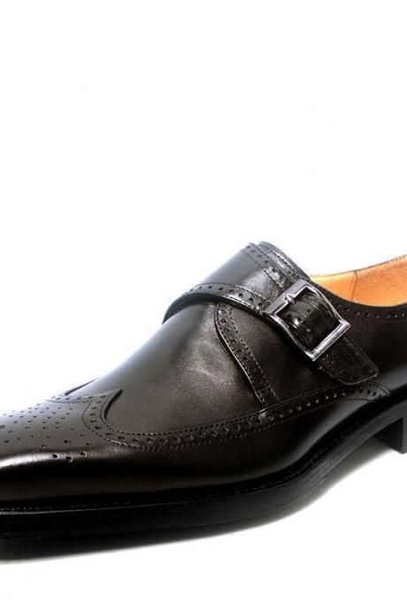 Black Monk Single Buckle Strap Brogue Toe Wing Tip Leather Shoes For Men