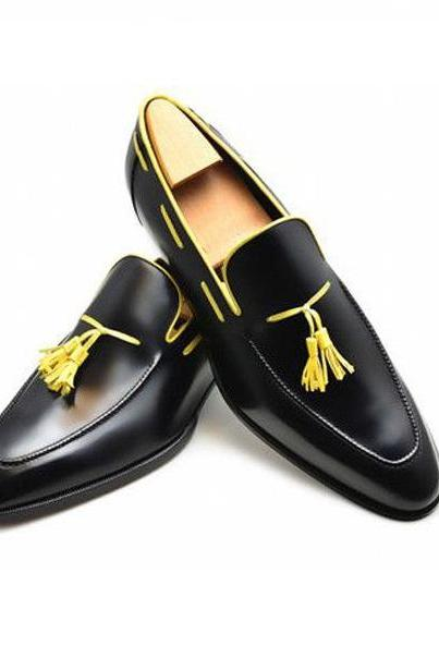 Men Yellow Tassel Black Loafer Slip On Rounded Toe Genuine Leather Shoes