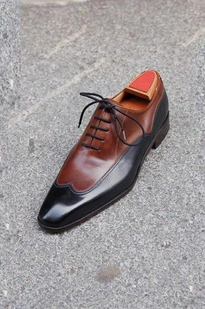 Men Two Tone Brown Black Wing Tip Derby Plain Rounded Toe Leather Shoes