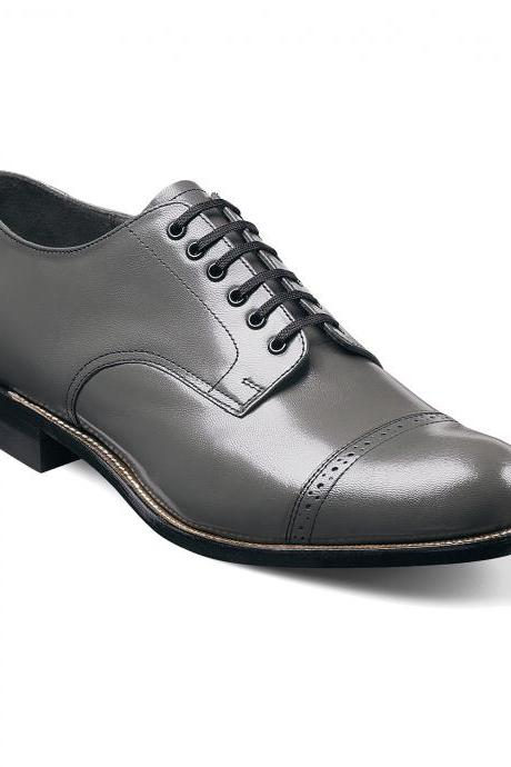 Men Oxford Gray Rounded Cap Toe Vintage Leather Black Sole Lace Up Shoes