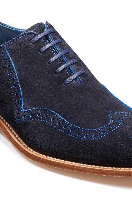 Men Navy Blue Brogue Toe Wing Tip Suede Real Leather Shoes