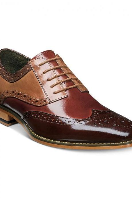 Men Multi Color Full Brogue Toe Wing Tip Genuine Leather Lace Up Shoes