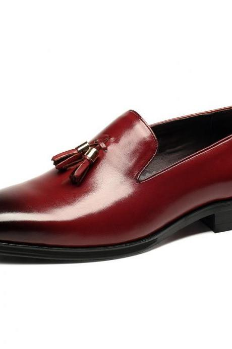 Men Maroon Red Tassel Loafer Slip On Burnished Rounded Toe Leather Shoes