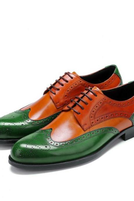 Green Tan Full Brogue Toe Wing Tip Black Sole Leather Lace Up Shoes For Men