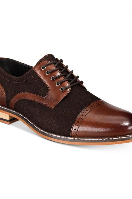 Men Brown Suede Burnished Rounded Cap Toe Genuine Leather Lace Up Shoes