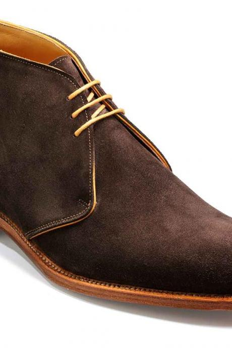 Men Brown Chukka Natural Color Sole High Ankle Suede Real Leather Boots