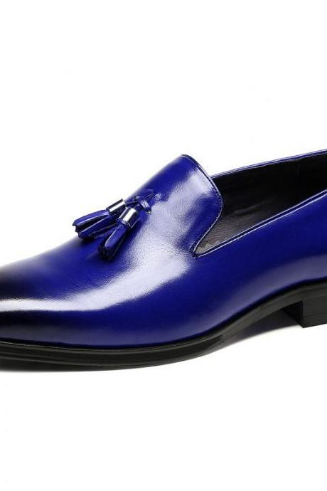 Handmade Blue Tassel Loafer Slip On Plain Burnished Toe Vintage Leather Men Shoes