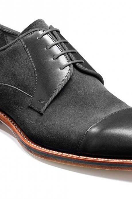 Handmade Black Suede Rounded Cap Toe Matching Sole Real Leather Lace Up Men Shoes