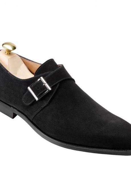 Men Black Monk Single Buckle Strap Plain Rounded Toe Suede Leather Shoes