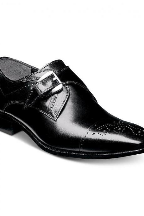 Men Black Monk Single Buckle Strap Medallion Cap Toe Real Leather Shoes