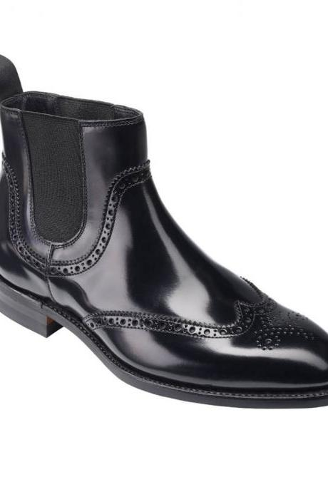 Men Black Chelsea Jumper Slip On Brogue Toe Wing Tip Leather Ankle Boots