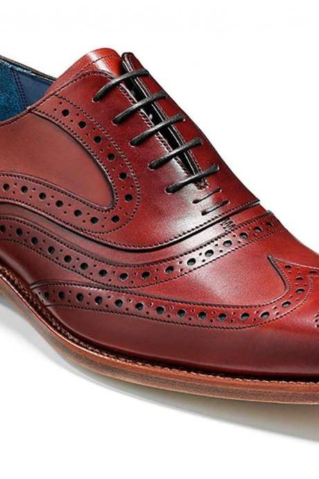 Maroon Red Wing Tip Brogue Toe Handmade Real Leather Lace Up Shoes