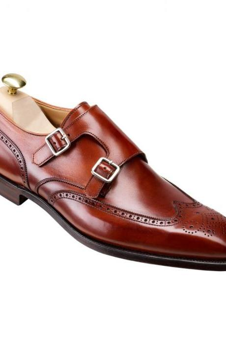 Maroon Red Monks Double Buckle Strap Brogue Toe Wing Tip Leather Shoes