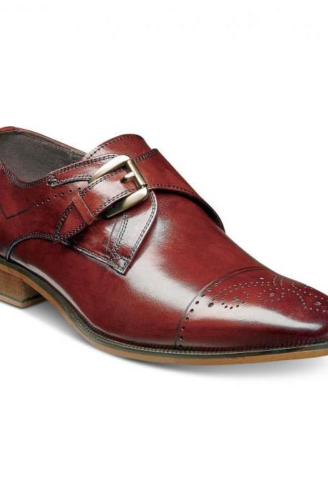 Maroon Red Monk Handmade Medallion Cap Toe Real Leather Shoes For Men