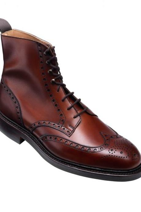 Maroon Red Full Brogue Toe Wing Tip Vintage Leather Lace Up Ankle Handmade Boots