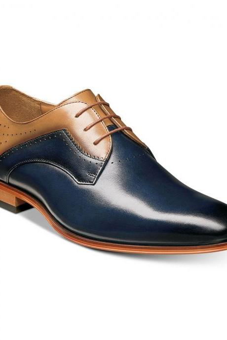 Made To Order Men Oxford Two Tone Blue Brown Burnished Toe Leather Shoes