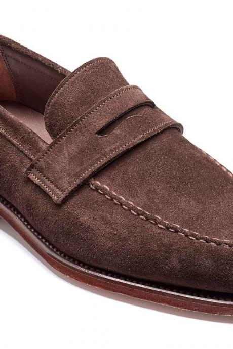 Made To Order Men Brown Penny Loafer Slip On Premium Suede Leather Shoes