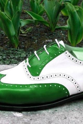 Men Two Tone White Green Cont Wing Tip Brogue Toe Vintage Leather Shoes