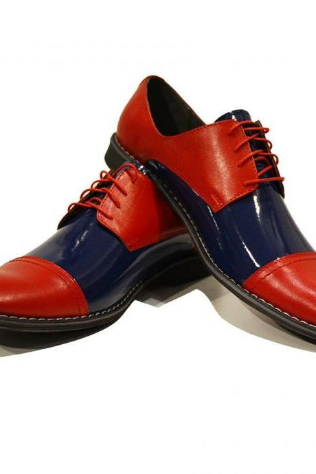 Men Two Tone Red Blue Derby Rounded Cap Toe Handmade Real Leather Shoes