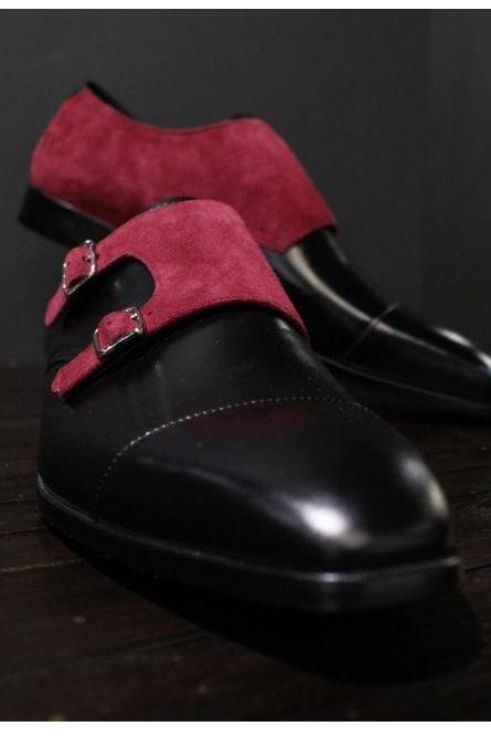 Men Two Tone Monk Double Buckle Maroon Suede Black Cap Toe Leather Shoes
