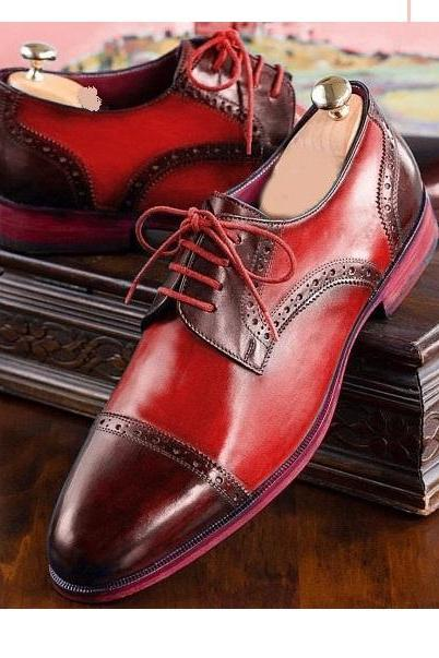 Men Two Tone Maroon Red Derby Rounded Cap Toe Real Leather Lace Up Shoes