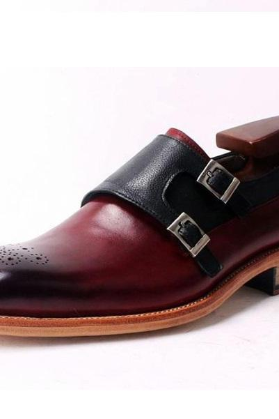 Men Two Tone Maroon Black Double Monk Burnished Brogue Toe Leather Shoes
