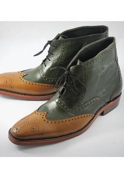 Perfect Kick Tan & Green Full Brogue Toe Wingtip Genuine Leather High Ankle Boots For Men