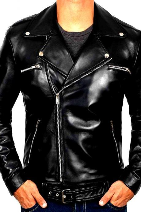 Customize Black Color Side Zipper Lapel Collar Genuine Leather Men Biker Jacket
