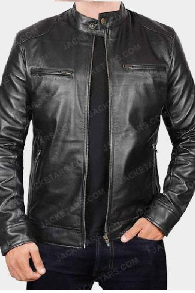Customize Black Color Genuine Leather Men Biker Jacket