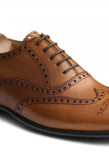 On Market Demand Brown Oxford Full Brogue Handmade Pure Leather Men Shoes