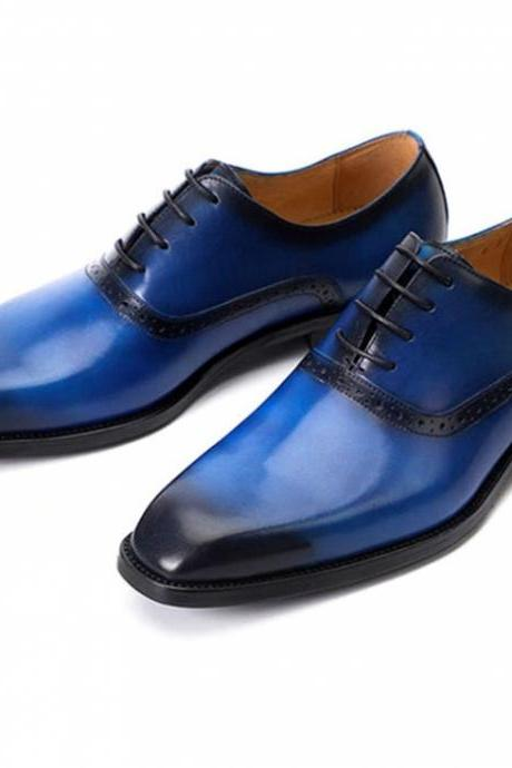 On Demand Blue Patina Oxford Handmade Genuine Leather Shoes For Men
