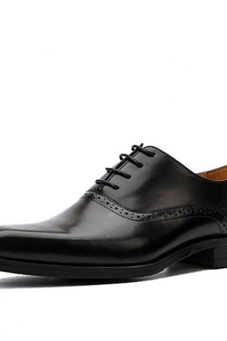 Customize Black Oxford Handmade Pure Leather Shoes For Men