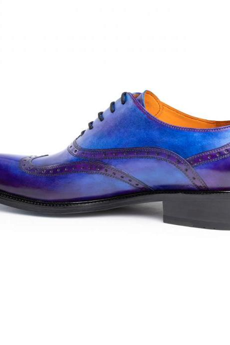 High Quality Handmade Patina Blue Oxford Genuine Leather Shoes For Men