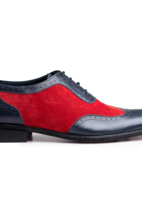 Freshly Design Black And Red Handmade Wingtip Oxford Genuine Suede Leather Men Shoes