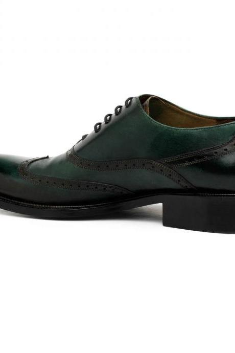 Luxury Lifestyle Green Oxford Handmade Pure Leather Shoes For Men