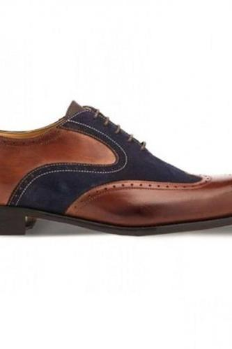 Classic Brown and Blue Wingtip Suede Leather Lace Up Shoes For Men