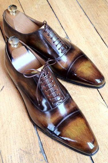 Formal Dress Brown Oxford Patina Luxury Wear Hand Painted Official Cap Toe Real Leather Business Shoes