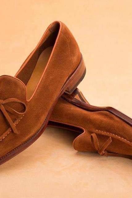 Men's Brown Luxury Slip On Moccasins Loafer Suede Leather Fashionable Handmade Splendid Reliable Shoes