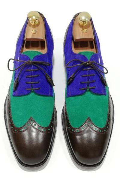 Suede Leather Oxford Multi Color Stylish Look Wing Tip Luxury Wear Handmade Fashionable Laced Up Adorable Shoes