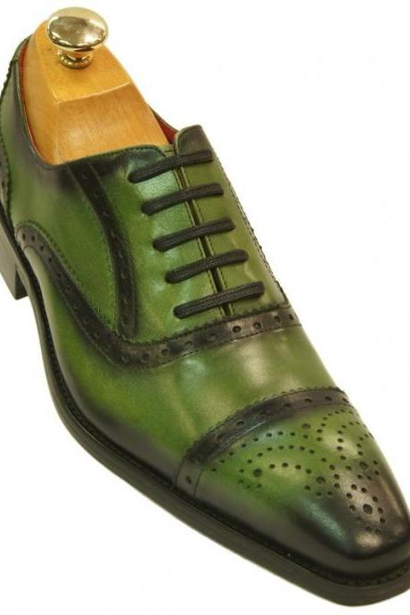 Green & Black Oxford Burnished Laced Up Brogue Cap Toe Handmade Party Wear Men Perfectionist Shoes