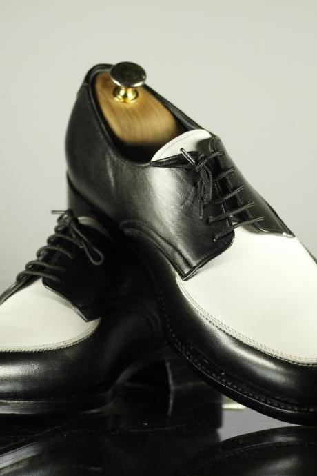 Men's Oxford Style Black & White Formal Dress Luxury Wear Real Leather Admirable Business Shoes