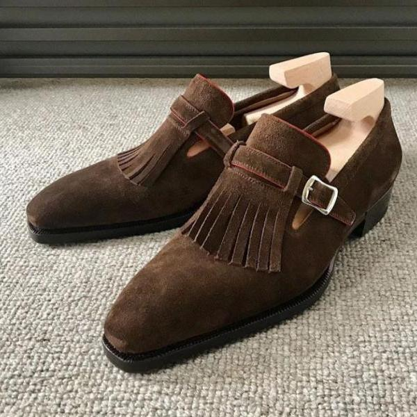 Excelling Fringed Style Brown Monk Suede Leather Handmade Reliable Luxury Wear Handmade Men Shoes